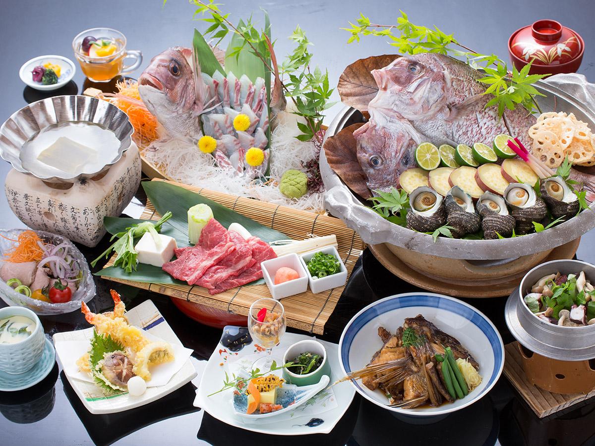 【料理長イチオシ!】鳴門鯛の宝楽焼・阿波牛・阿波ポークが味わえる!満足会席